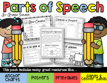 Parts of Speech Pack: Nouns, Verbs, Adjectives, and Adverbs