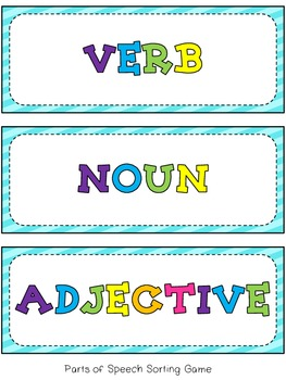 Parts of Speech Packet - Nouns, Verbs, and Adjectives