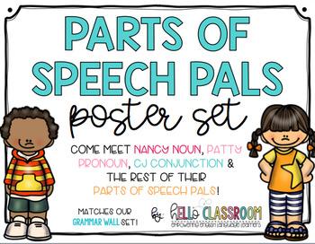Parts of Speech Pals Poster Set - Grammar - ELL