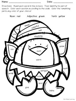 Parts of Speech Penguin Elf Color by Code FREEBIE!