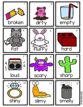 Adjectives, Nouns and Verbs Picture Cards {For Small Pocket Charts}
