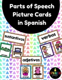 Parts of Speech Picture Cards in Spanish Sustantivos Verbo