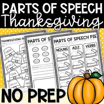 Parts of Speech Pie:Thanksgiving Cut/Paste Sorting ...