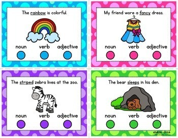 Parts of Speech Poke Card BUNDLE - Nouns, Verbs, Adjectives