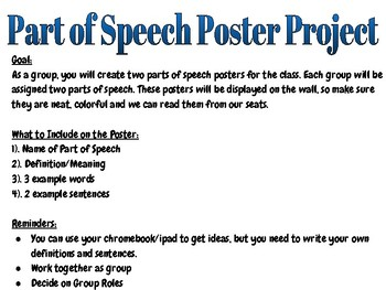 Parts of Speech Poster Group Project