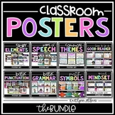 Classroom Poster Bundle - Parts of Speech, Story Elements, Genre and more!