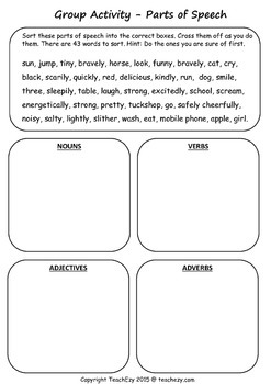 Parts of Speech Poster and Group Activity
