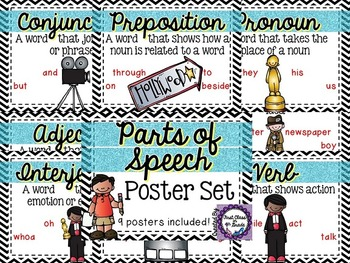 Parts of Speech Posters (Black Chevron)