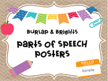 Parts of Speech Posters: Burlap and Brights