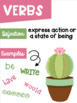 Parts of Speech Posters ~Cactus Succulent Theme~