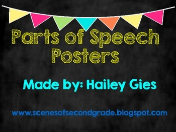 Parts of Speech Posters: Chalkboard and Brights