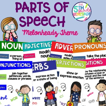 Parts of Speech Posters Colorful Kids