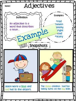 Grammar Poster Set (Parts of Speech Snapshots Book Template)