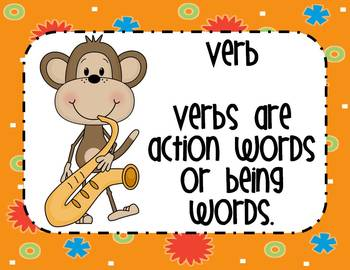 Parts of Speech Posters~ Monkey Theme
