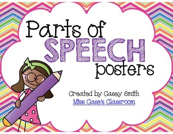 Parts of Speech Posters - Noun, Verb, Adjective, and more for K-2 Classroom