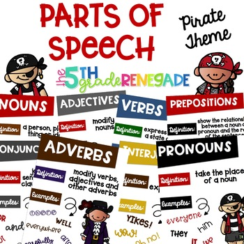 Parts of Speech Posters ~Pirate Theme~  8 Parts of Speech Included