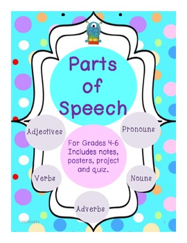 Parts of Speech - Posters, Project, Notes and Quiz - Grade 4-6