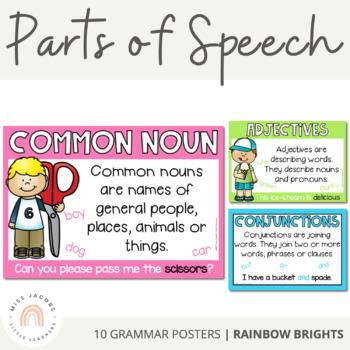 Parts of Speech Posters {Rainbow Classroom Decor}