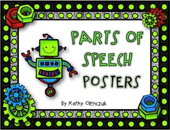 CCSS Language Standards - Parts of Speech Posters -- Robots!