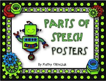CCSS Language Standards - Parts of Speech Posters -- Robots!