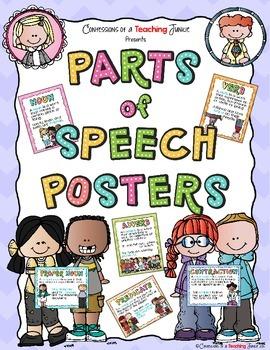 Parts of Speech Posters Set - Melonheadz Theme