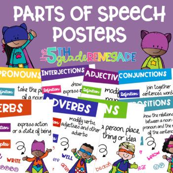 Parts of Speech Posters Superhero Kids Melonheadz Theme