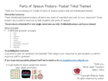 Parts of Speech Posters- Tribal / Pastel Themed