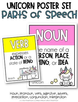 Parts of Speech Posters {Unicorn Theme}