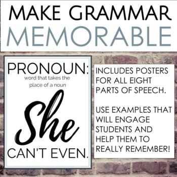 Parts of Speech Posters Using Millennial Slang