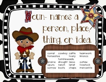 Parts of Speech Posters Western/Cowboy Themed