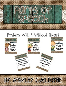 Parts of Speech Posters and Handouts- Teal Wood, Burlap, and Lace