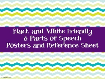 Parts of Speech Posters and Reference Sheet B&W Friendly