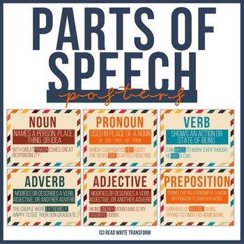 FREE Parts of Speech Posters in Vintage Colors