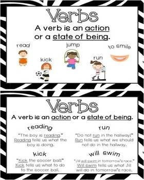 Parts of Speech Posters with Jungle Animal Print theme backgrounds