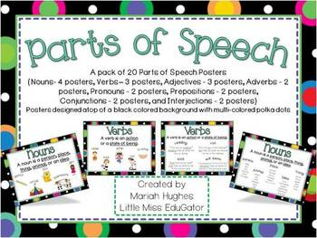 Parts of Speech Posters with Multi-Colored Polka Dots on Black theme