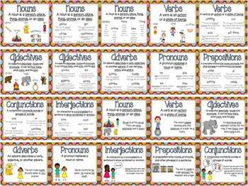 Parts of Speech Posters - Multi-Colored Polka Dots on Chocolate Theme