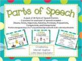 Parts of Speech Posters - Multi-Colored Polka Dots on Turquoise Themed