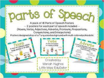 Parts of Speech Posters - Multi-Colored Polka Dots on Turq