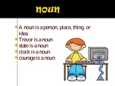 Parts of Speech Power Point with cute clipart