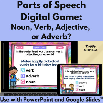 Parts of Speech PowerPoint Game: Noun, Verb, Adjective or Adverb?