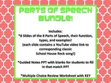 Parts of Speech PowerPoint, Notes, and Worksheet Bundle