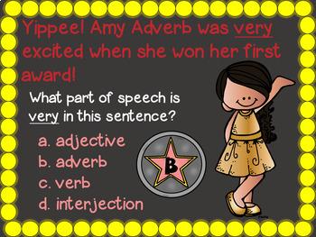 Parts of Speech PowerPoint: Part 4 Review (N, V, Adj, Adv, Pro, Conj, Prep, Int)