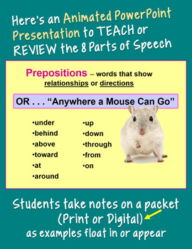 PARTS OF SPEECH PowerPoint with Student Handout Grades 5-8