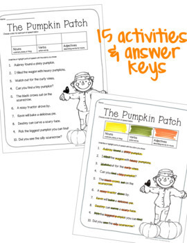 Parts of Speech Practice Activity or Center for Halloween, Thanksgiving, & Fall