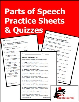 Parts of Speech Practice Sheets and Quizzes