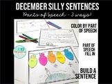 Parts of Speech Practice Silly Sentences Winter December Activities