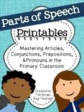 Parts of Speech Printables {Articles, Conjunctions, Prepositions, & Pronouns}