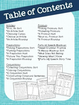 Parts of Speech Printables {Articles, Conjunctions, Prepositions, & Pronouns}