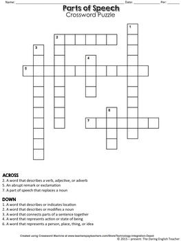Parts of Speech Puzzle Pack