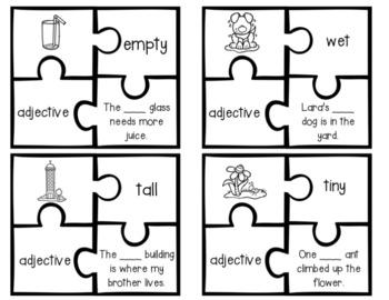 Parts of Speech Puzzles: Noun, Verb, & Adjectives!